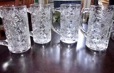 "Princess House Fantasia 4 Clear Tall Beer Mugs - 5-5/8"" T - 12 .oz"