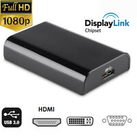 1080P 3in1 USB 3.0 to HDMI DVI VGA Converter Adapter for PC Laptop to TV Monitor