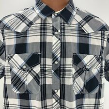 Roubuck Co Western Rockabilly Shirt XL Blue Plaid Short Sleeve Pearl Snap