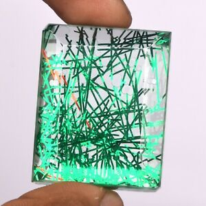 Green Rutilated Quartz Loose Stone 148.50 Ct. Faceted Emerald Cut Gem EX-117