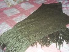 KENNEBUNK HOME  soft woven fringed throw afghan USA dark green