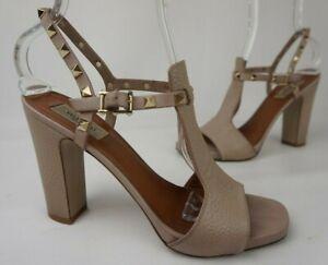 Valentino Garavani Rockstud T-Strap Sandal Poudre Leather Size 39