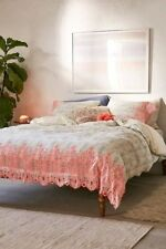 URBAN OUTFITTERS HOME PINK EMMA EMBROIDERED DUVET COVER QUEEN / FULL