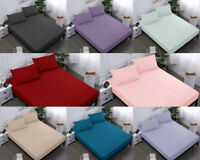 "DEEP FITTED SHEET WITH FREE PILLOW CASES POLY COTTON 12""/30CM DOUBLE SINGLE KING"
