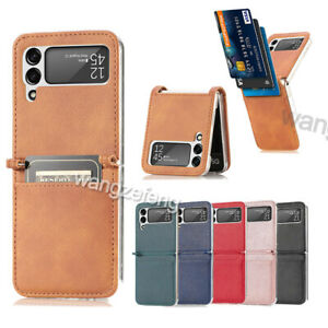 For Samsung Galaxy Z Flip 3 5G PU Leather Card Holder Slots Folding Case Cover