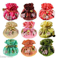 Wholesale 10pcs Handmade Embroidered Flower Silk Cosmetic Jewelry Bag Purse