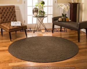 Braided Jute Rug Round Bohemian Rag Rug Floor Rug Hand Woven Home Decor Jute Rug