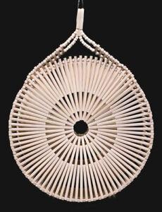CULT GAIA Light Brown Bamboo Wood ZAHA Round Basket Tote Bag
