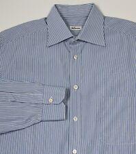 Kiton Recent Blue/White Striped Handmade Cotton Dress Shirt (44) 17.5-32