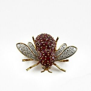 2.50 Ct Ruby & Sim Diamond Bee pins & brooches 14K Yellow Gold Plated Silver