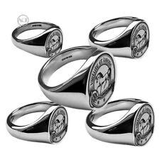 Laser Graviert Ihre Familie Crest Signet Ringe 925 Massiv Oval UK Hm