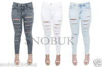New Womens Ladies Celeb Ripped Skinny High Waist Stretchy Denim Pants Jeans 6-14
