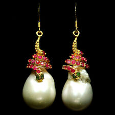 NATURAL WHITE PEARL BAROQUE, EMERALD, RUBY EARRINGS 925 STERLING SILVER
