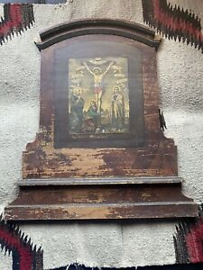Antique 18thC. Spanish Colonial New Mexican Retablo on wood -
