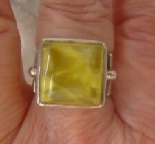 925 Sterling Silver Yellow Prehnite Ring 13 mm Square Size 8 Lemon Frosted
