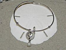 New Vantel Pearls Silver Tone Heart Charm Bangal Bracelet 7mm White B1315 Pearl