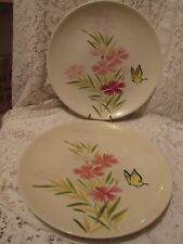 """Two Vintage Red Wing Pink Spice Butterfly 10 3//4/"""" Dinner Plates"""