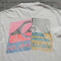 Vintage 90s Quicksilver Logo Tshirt Size L M Made in USA Hanes Beefy T