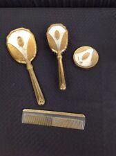 Vintage Four PIECE Ornate DRESSER VANITY SET~HAND MIRROR~BRUSH~COMB! NR!