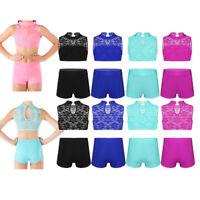 Kid Girl Lace Sport Dance Outfit Ballet Gym Crop Top+Shorts Dancewear Activewear