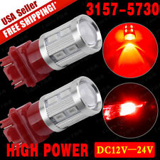 2x 3157 SRCK CK Socket High Power 10W LED Red Brake/Stop/Tail/Turn Signal Light