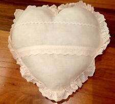 Shabby Chic Cushion Pillow Cream Heart Calico Lace Matching Throw Listed