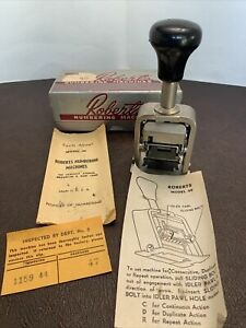 VINTAGE 1950's ROBERTS NUMBERING MACHINE model 49, in ORIG BOX