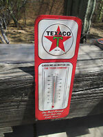 TEXACO STAR Gasoline an Motor oil Thermometer embossed metal Sign The Texas Comp
