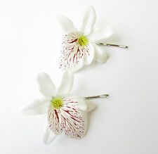 2 x White Orchid Flower Hair Grips Clips Bridesmaid Bobby Pins Slides Boho 2130