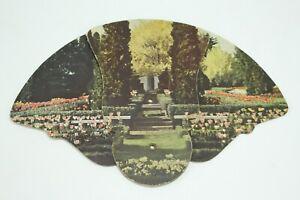 Vintage Tri-Fold Hand Fan Joseph Schaefer & Son Funeral Home Evansville Indiana