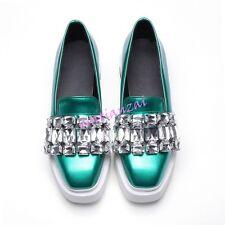 Lady's Luxury Rhinestone Creepers Platform Shiny Loafers Sneaker Shoes  Plus SZ