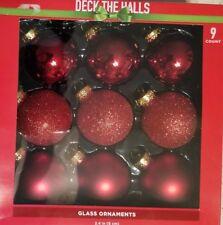 "9 Glass Ornaments Silver Red Glitter 2.4"""