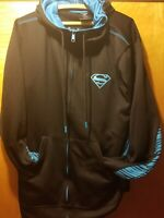 Mens Black~Sky Blue Size Medium Superman Sweatshirt Full Zip & Pockets