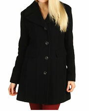 Nwt $539 Cole Haan Wool Plush Single Breasted Coat Jacket Parka Top ~Black *8