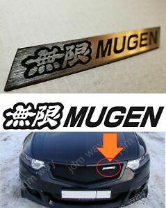 For Honda Mesh Grill Front Mugen Style Steel Emblem Set