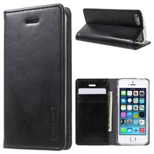 Apple iPhone SE 5 5S Mercury GOOSPERY Flip Handy Tasche Klapp Book Etui Schwarz