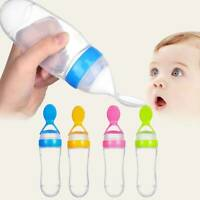 BABY SILICONE SQUEEZE FEEDING BOTTLE WITH SPOON FOOD RICE CEREAL FEEDER Useful