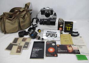 Vintage Nikon Nikkormat FT3 Camera w/Lenses Flash Filters Books Case Etc NR yqz