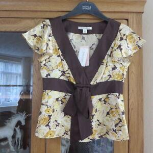 Banana Republic Yellow/brown silk top Size XS  BNWT