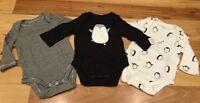 Baby Gap Boy Newborn (Up To 7 lb) Set Of 3 Penguine Black & White Bodysuits. Nwt