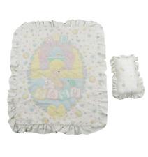 Vtg 90s Precious Moments Crib Baby Comforter Blanket and Pillow Set White Bunny