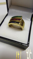 14ct 14K 585 real gold ring with 3 colour stones 7.3g size O