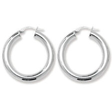 49c85abb8 925 Sterling Silver Plain Hoop Tube Creole Earrings 4mm Thick Height 22mm