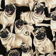 PUGS ON BLACK FABRIC MATERIAL, I Love Dogs Collection From Timeless Treasures