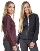 Ladies Fashion Stylish Faux Leather Lined Black Womens Berry Biker Jacket