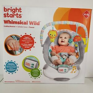 Bright Starts Cradling Bouncer Whimsical Wild Unisex Removable Headrest Toy Bar