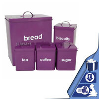 5pc Purple Metal Bread Bin Storage Canister Set Coffee Tea Sugar Biscuits Bread