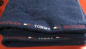 Tommy Hilfiger Towels Blue with Spellout Logo Stripes Thick Ribbed 2ct Set