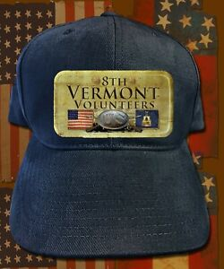 8th Vermont Volunteers Navy Blue American Civil War themed adjustable cap