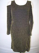 NY Collection Black Gold Open Shoulder Stretch Dress Womens Plus Sz 2X 18W 20W